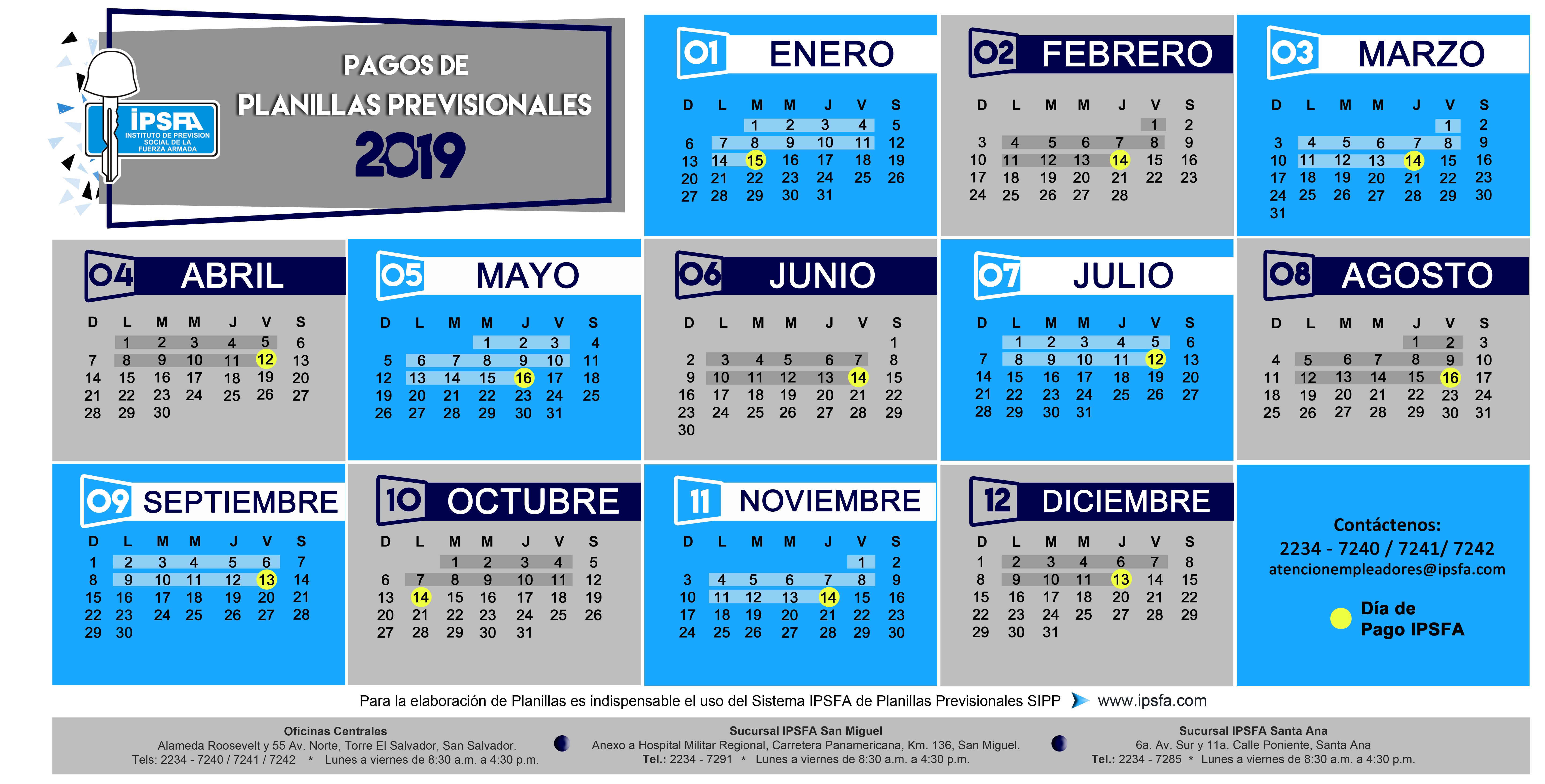 FECHAS DE PAGO DE PLANILLAS 2019